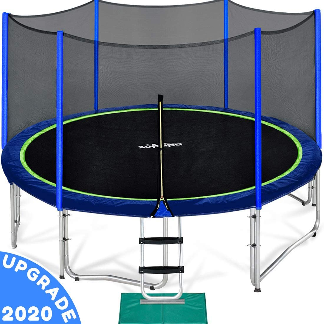 Zupapa 10 FT Trampoline for Kids with Safety Enclosure Net 330 lbs Weight Capacity Germany Outdoor Yard Trampolines with Jumping Mat Spring Pad Ladder Rain Cover