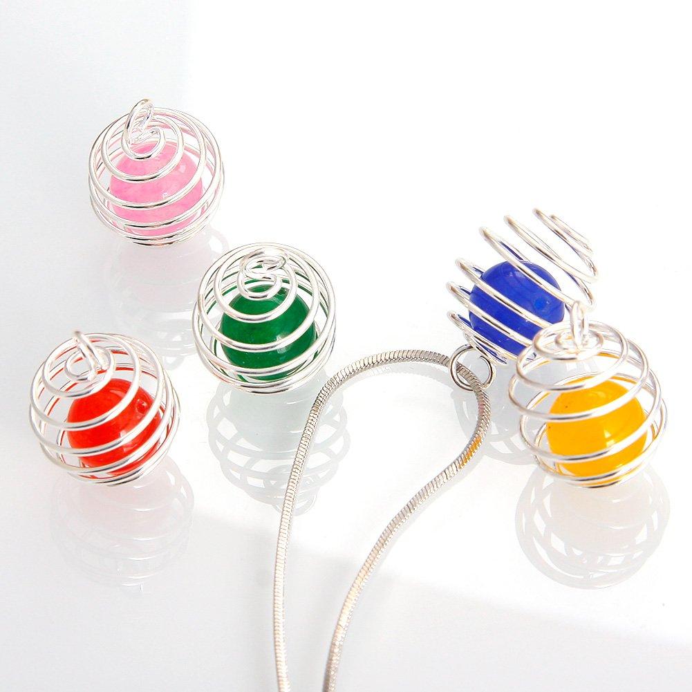 JuanYa 30 pezzi Branelli a Spirale Pendente Gabbia Branello hanno Placcato Risultati Fascini della Gabbia per Fare Gioielli 3 Dimensioni