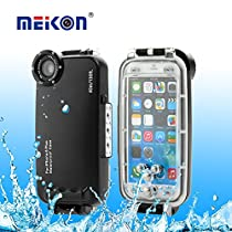 Meikon Hight Quality 40m Rated Dive Professional Submersible Underwater Photo Video Camera Waterproof Photo Housing Diving Swimming Skin Protective Case Cover for Apple iPhone 6 Plus 5.5 inch (Black)