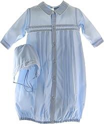 b70266bd5340 Newborn Boys Blue Take Home Gown Bonnet Friedknit by Feltman