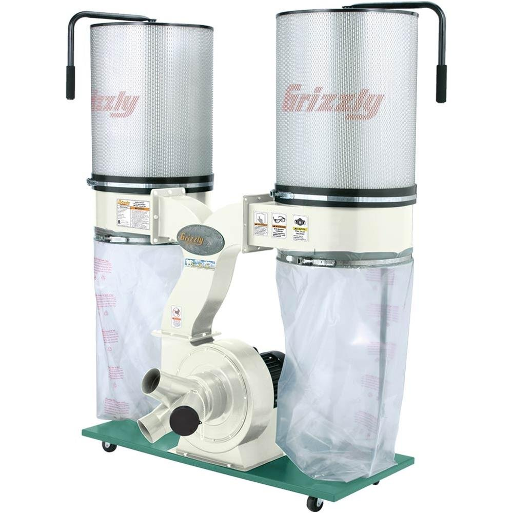 Grizzly G0562ZP 3 HP Double Canister Dust Collector with Aluminum Impeller,  Polar Bear Series