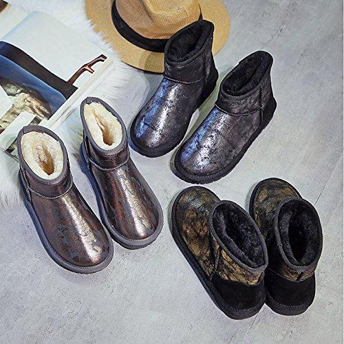 para Calf caqui Confort tacón Otoño pelusas Khaki Zapatos puntera y Mid Mujer Invierno Casual PU rojo plana botas redonda de revestimiento negro HSXZ de botas W4Ua8n4