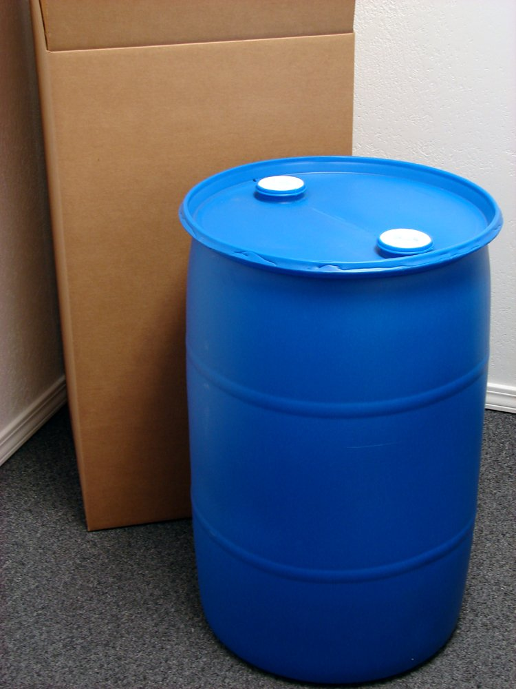 30 Gallon Drum; Emergency Water Storage Barrel, Blue - New! - Boxed! Water Container by GREIF
