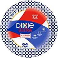 "Dixie Ultra Paper Plates, 10 1/16"", 64 Count, Dinner Size Printed Disposable Plates"