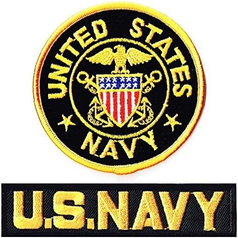 ミリタリーワッペン 米海軍士官M+NAVYタブ2Pセット