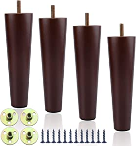 Wood Chair Legs 10 Inch, Round Solid Wood Furniture Legs Set of 4, Mid Century Table Legs of Walnut Color Replacement for Sofa, Armchair, Couch, Cabinet, Ottoman, Bed, Chest, Drawers