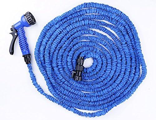 Triecoworld: manguera de agua para jardín, extensible, potente y flexible, 30, 5 metros, boquilla con 7 velocidades en spray, color azul: Amazon.es: Jardín