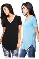 Emmas Closet Bundle 2 items Women's Oversize Stretchy V-Neck Tee