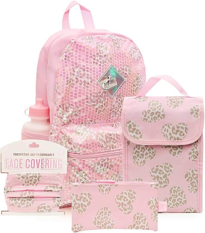 Cozeyat Panda Backpack Set Lovely Bookbag Pink Lunch Bag Pencil Box for Girls