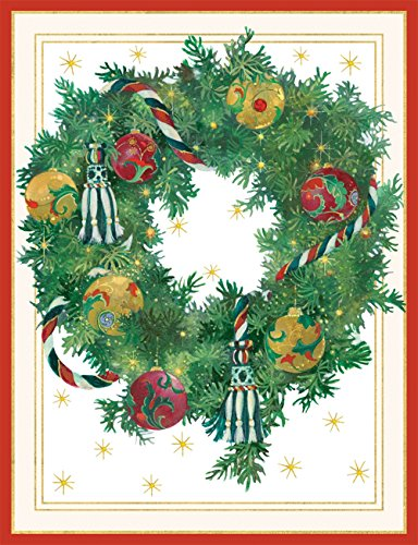 Entertaining with Caspari Wreath With Ornaments Christmas Cards, Box of 16