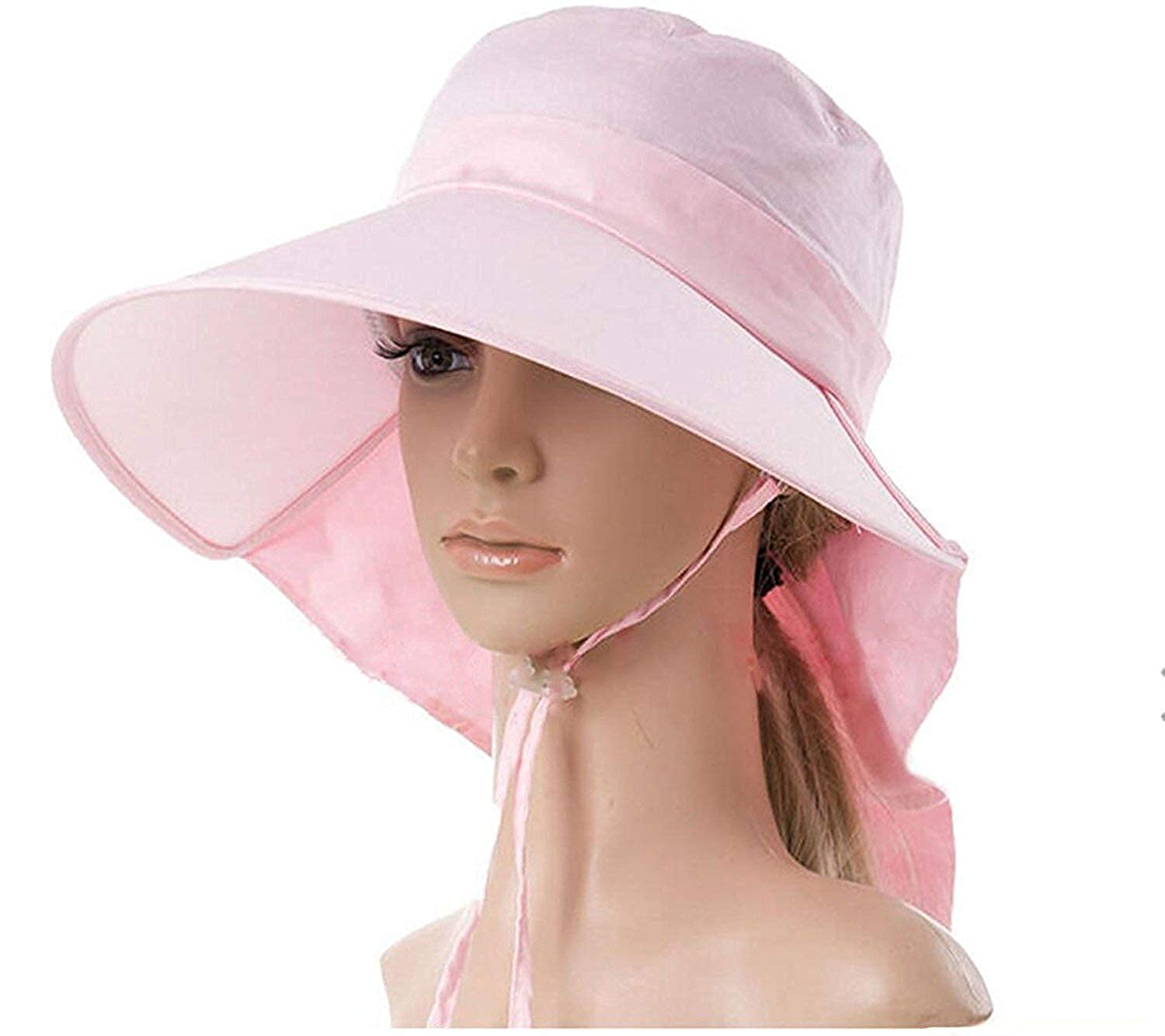 Ls Lady Womens Summer Flap Cover Cap Cotton Anti-UV UPF 50+ Sun Shade Hat  with Bow. Adjustable Hat (One Size 4bb2513af5