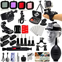 51-in-1 Biker Set with Head Strap, Flexible Tripod, Filters, Hand, Wrist, Handlebar Seatpost Mount, Case, Anti-Fog Inserts Accessories Kit Bundle For GoPro Hero 4 3 3+ 2 Black Plus Session