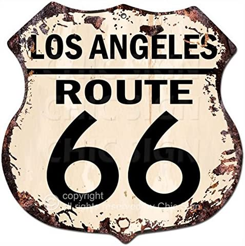 Chic Sign Los Angeles Route 66 Vintage Retro Rustic 11.5 x 11.5 Shield Metal Plate Store Home Room Wall Decor Gift