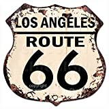 Chic Sign LOS ANGELES ROUTE 66 Vintage Retro Rustic 11.5″x 11.5″ Shield Metal Plate Store Home Room Wall Decor Gift For Sale