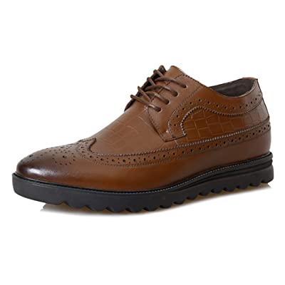 2.36 Inches Taller-Genuine Leather Height Increasing Elevator Brogue Fashion Business Casual Shoes