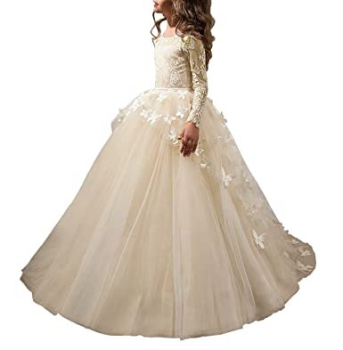 e8260dad179 QueenBridal Lovely First Communion Dress Long Sleeve Lace Flower Girl Dress  Champagne 2