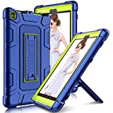 All-New Amazon Kindle Fire 8 2017 Case with Stand, Elegant Choise Heavy Duty [Shockproof] Full Body Armor Defender Rugged Protective Cover Case for Kindle Fire HD 8 2017 Release(Blue/Yellow)