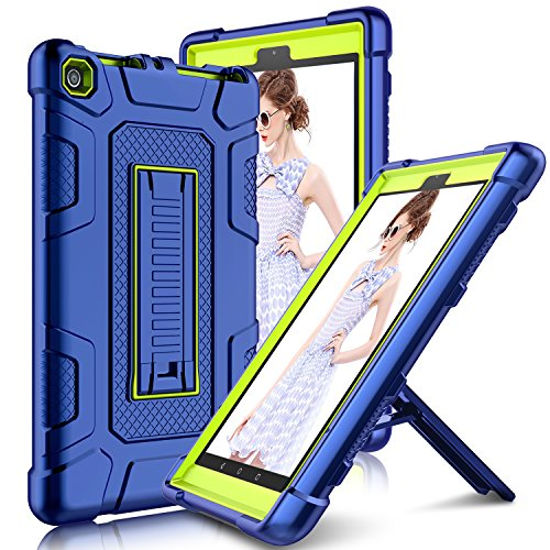 Elegant Choise Compatible with Kindle Fire HD 8 Tablet (7th and 8th Generation, 2017 and 2018 Release) Heavy Duty Full Body Protective Kickstand Cover Case Replacement for Amazon Fire 8 2018 (Yellow)