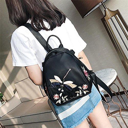 WTUS Mujer moda de verano de 2017 bordados flores nueva mochila mochila estéreo libélula ocio Oxford bolsos negro