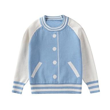 dccfa1f91241 Voberry Toddler Kids Baby Boys Girls Knitted Stripe Sweater T-shirt ...