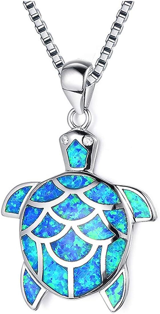 Turtle Jewellery Blue Opal Turtle Sterling Silver Pendant Turtle Charm October birthstone Turtle Pendant Silver pendant