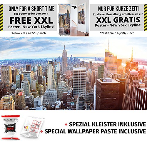 New York Penthouse Skyline Fototapete Manhattan Panorama Ausblick USA Stadt Wandbild XXL Wanddeko 210 x 140 cm + Spezial Kleister