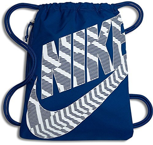 NIKE Heritage Drawstring Gymsack Backpack 400 Denier Sport Bookbag (Blue Jay Flight/White Graphics Mix Signature Swoosh Logo) -
