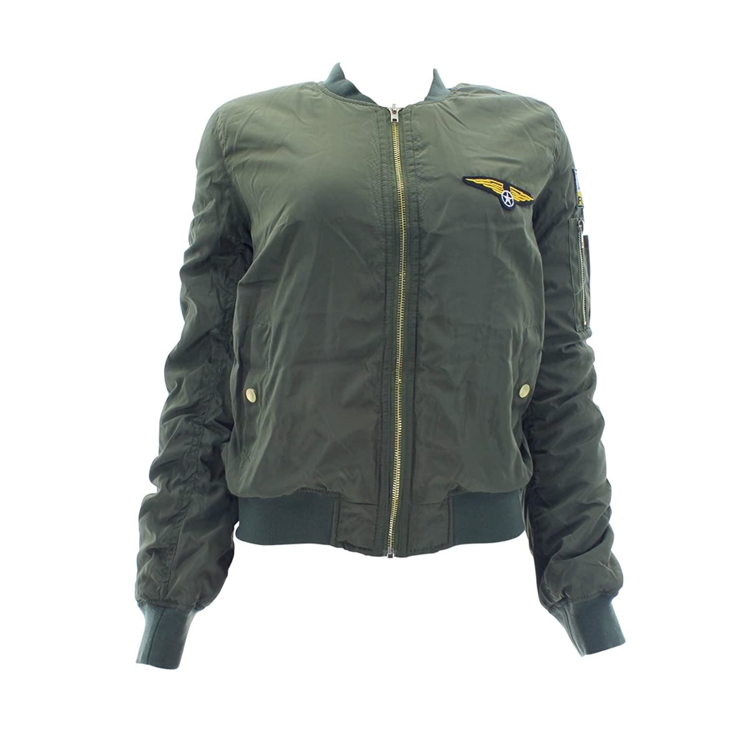 Ellie & Kate - Women's Patches Lined Bomber Jacket - Olive