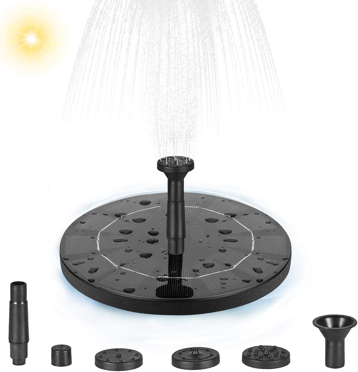 LOFTER Solar Fountain Pump for Bird Bath, 1.4W Solar Powered Fountain Water Pump Kit, Free Standing Outdoor for Garden and Patio
