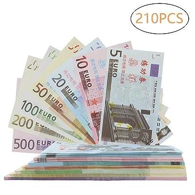 Color You 210Pcs EUR Prop Money Play Money Juego Realista Papel Moneda Impresión Completa 2 Caras, Juego de 1, 2, 5, 10, 20, 50, 100 €: Juguetes y juegos