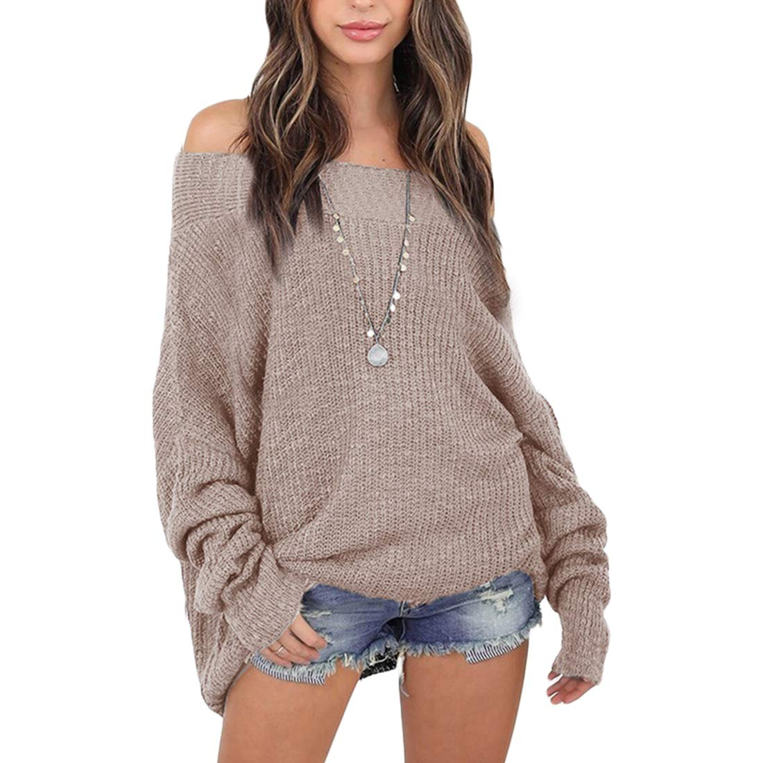 Belgius Shoulder Off Sweater Women Casual Loose Oversized Knitted Pullover Top