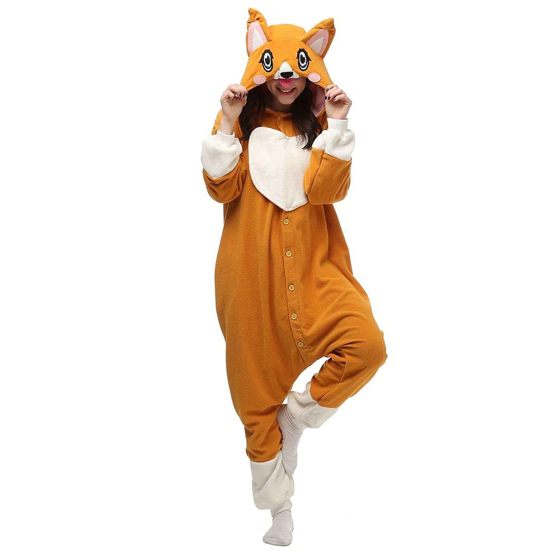 Casa Adult Pajamas - Unisex Fleece Onesie Sleepsuit Animal Onesies Kigurumi Hooded Pyjama Nightwear Costume One-Piece Dog S-XL
