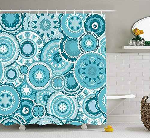 (Afagahahs Aqua Shower Curtain by Indian Hippie Ethnic Floral Leaves Mandala Rounds Print Fabric Bathroom Decor with Hooks White Seafoam Dark Blue and Turquoise)