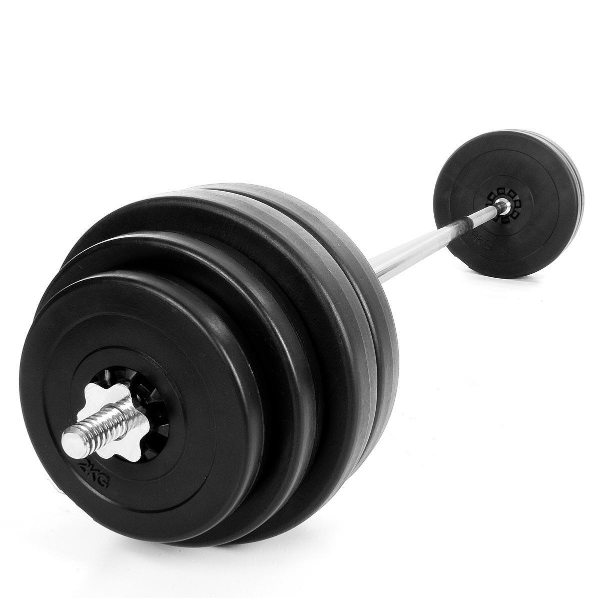 Kinetic Sports Langhantel Set 60 kg Hantel Gewichte Hantelscheiben (4 x 10 kg, 2 x 5 kg, 2 x 2 kg)