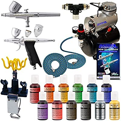 MASTER Airbrush 2-Airbrush Deluxe Cake Decorating Airbrush Kit with 12 - .7 fl oz Chef Master Airbrush Food Colors and TC-20T Tank Compressor, 2-each 6 Foot Air Hoses & Airbrush Holder