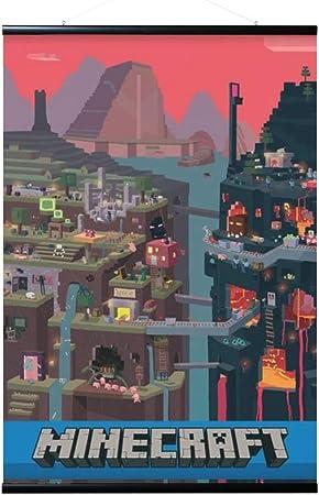 ERIK - Pack Póster Minecraft World con colgador de madera ...