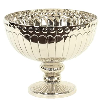 Amazon.com: Koyal Wholesale Silver Metal Pedestal Bowl 10 x 8-Inch on fish bowls wholesale, michael's glass bubble bowl wholesale, bowl planters wholesale,
