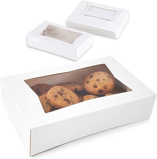 Juvale El cartón Blanco Ventana emergente Box - Pastel de pastelería y panadería con Las Cajas de Ventanas de plástico - (Paquete de 10) - 8 x 5.5 x 2 Pulgadas: Amazon.es: Hogar