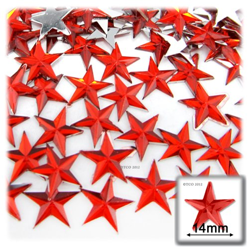 The Crafts Outlet 144-Piece Flat Back Star Rhinestones, 14mm, Ruby Red