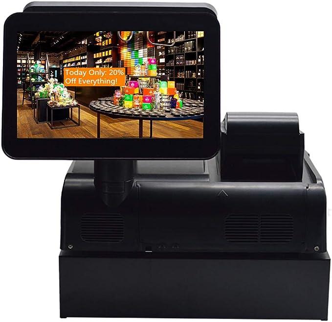 ZHONGJI sistema de caja registradora todo en uno con sistema de punto de venta, incluye MS-900 PC de pantalla dual, Windows 10 Pro OS, impresora de recibos térmicos, escáner de código de