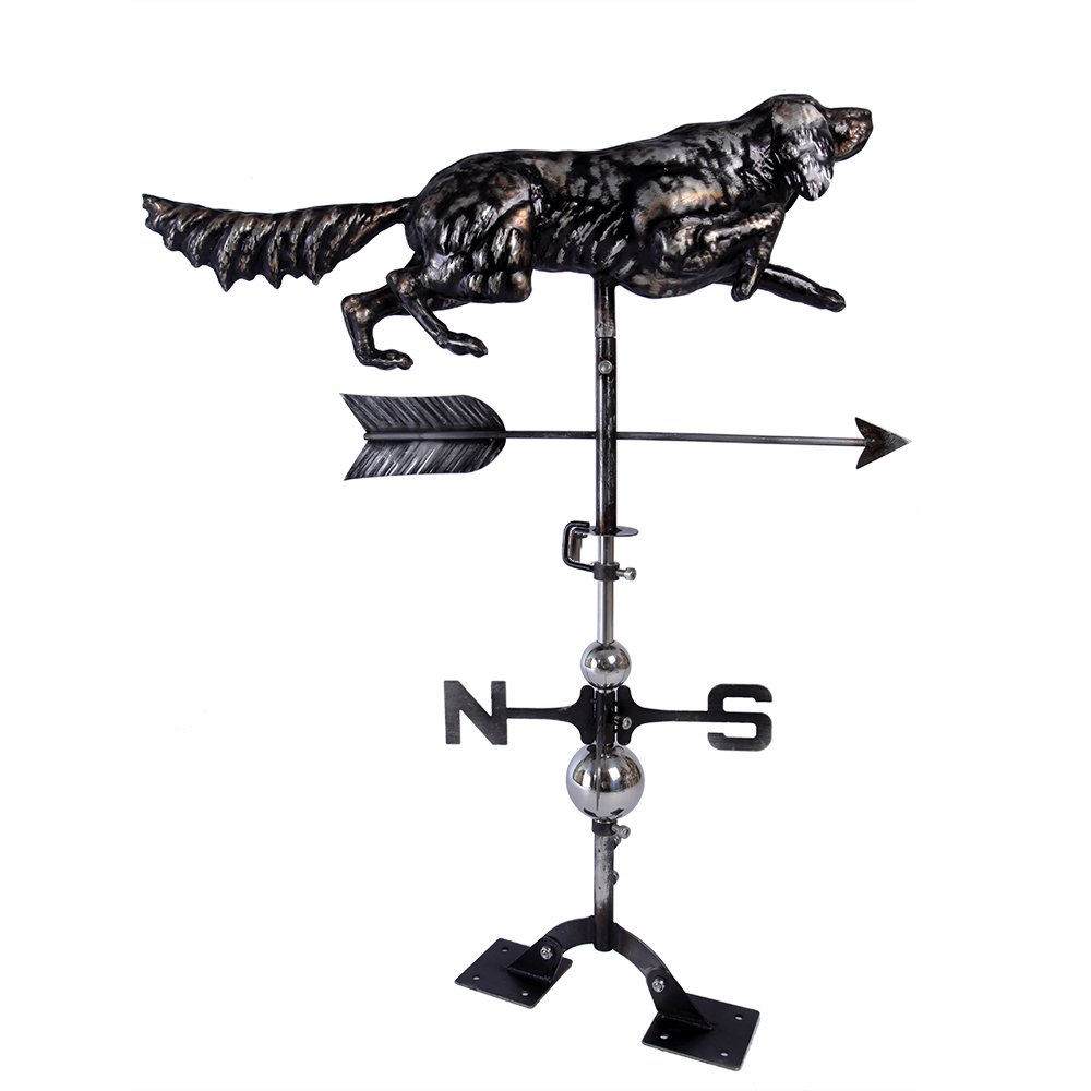 IORMAN Original Handcrafted 3D Hunting Dog Weathervane Directions Symbol for Farmhouse Barn Rustic Outdoor Garden