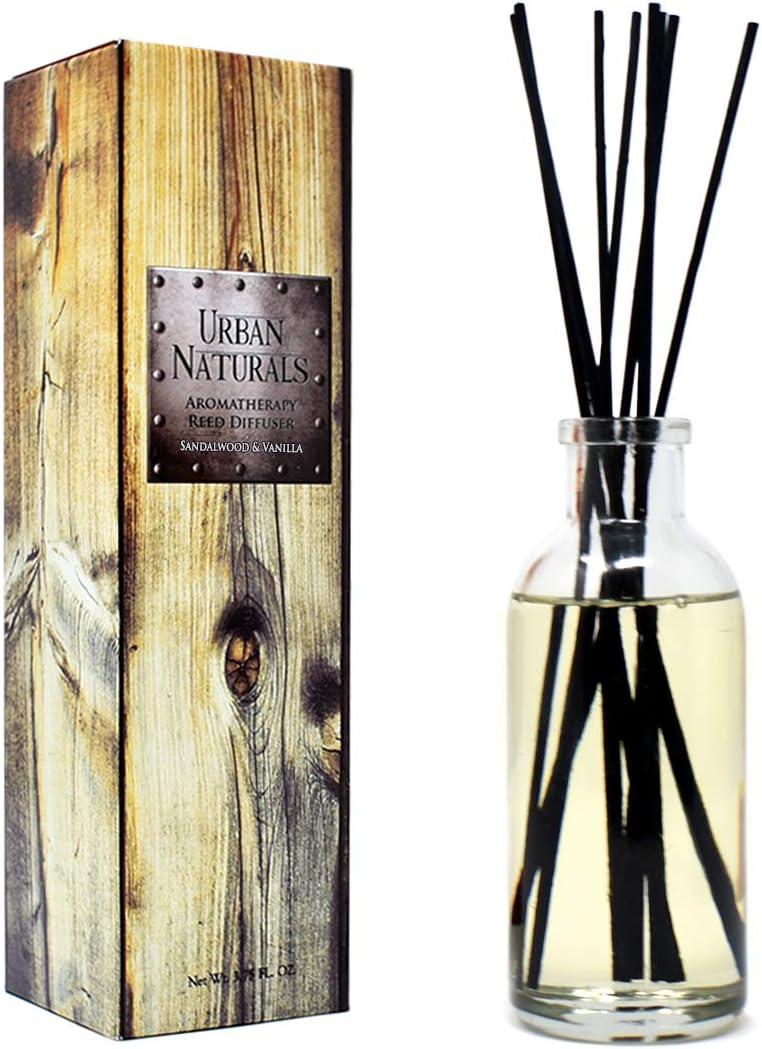 Urban Naturals Sandalwood & Vanilla Reed Diffuser Oil Gift Set | Tahitian Vanilla intermeshes & Desert Sandalwood Mingle to Create a Southern Bourbon Scent! | Great Idea