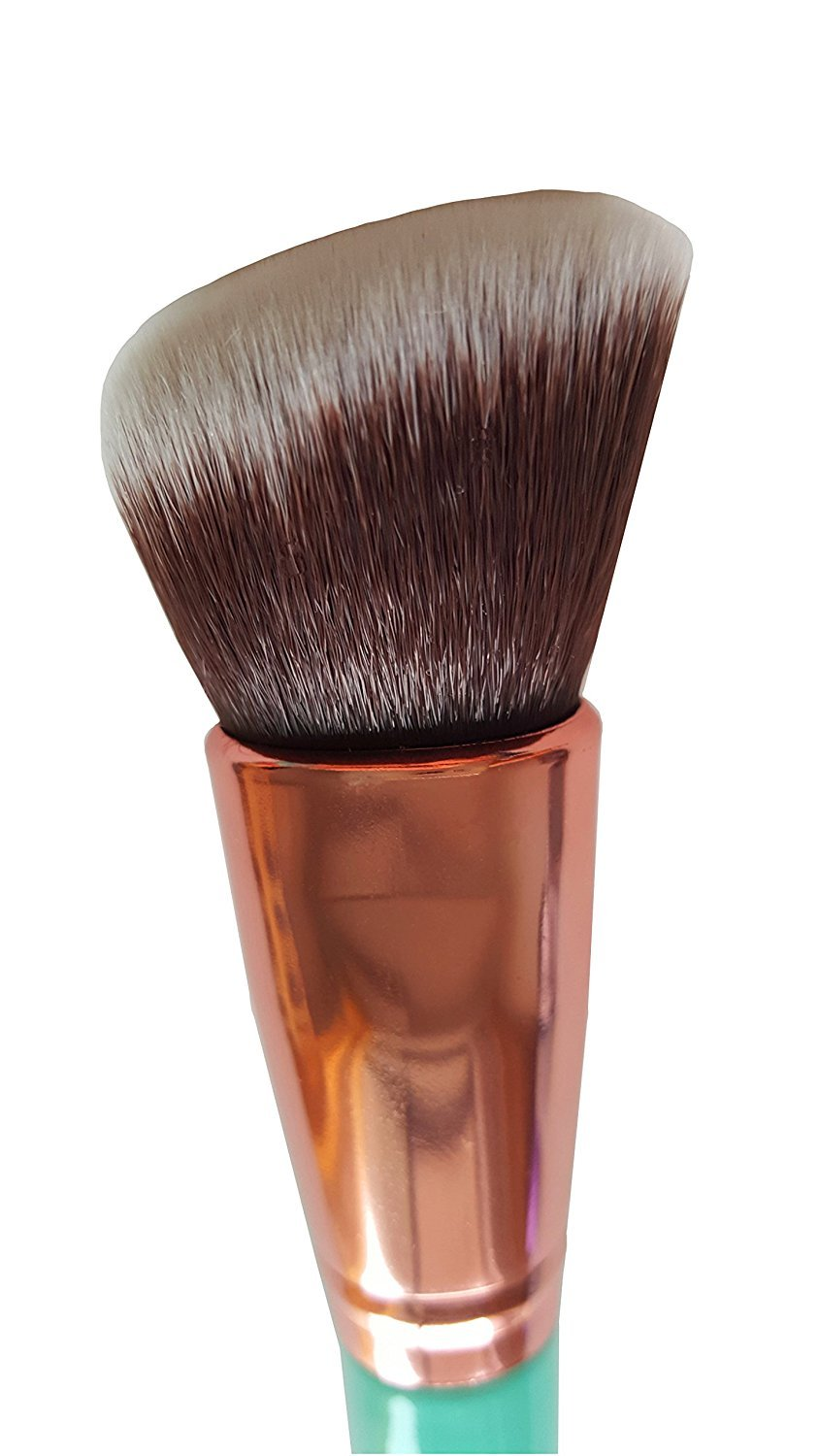 Mypreface Rose Golden Synthetic Blush and Bronzer Brush - Angled Kabuki Makeup Brush: Foundation Brush Perfect for Face Contouring and Highlighting with Creams and Powders (Blue): Beauty