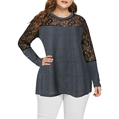 ef0230576f4 Staron Women s Long Sleeve Sweatshirts Lace Patchwork Pullover Shirts Top  Blouse  Amazon.in  Clothing   Accessories