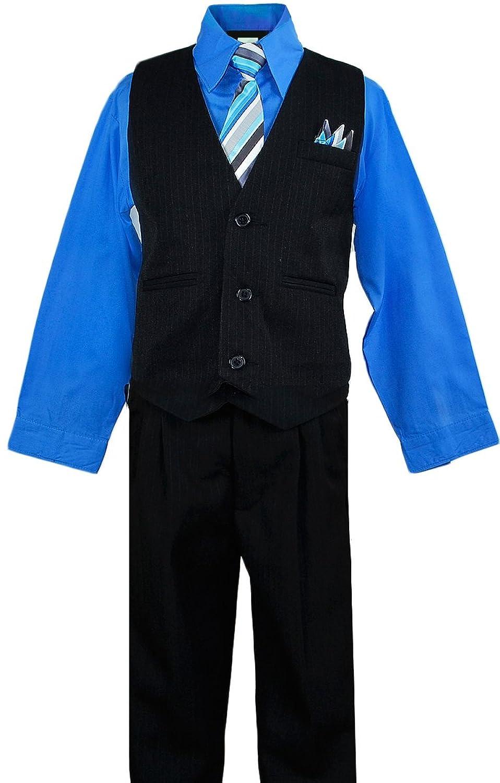 Amazon.com: Black N Bianco Boy's Suit Pinstripe Vest with Shirt ...