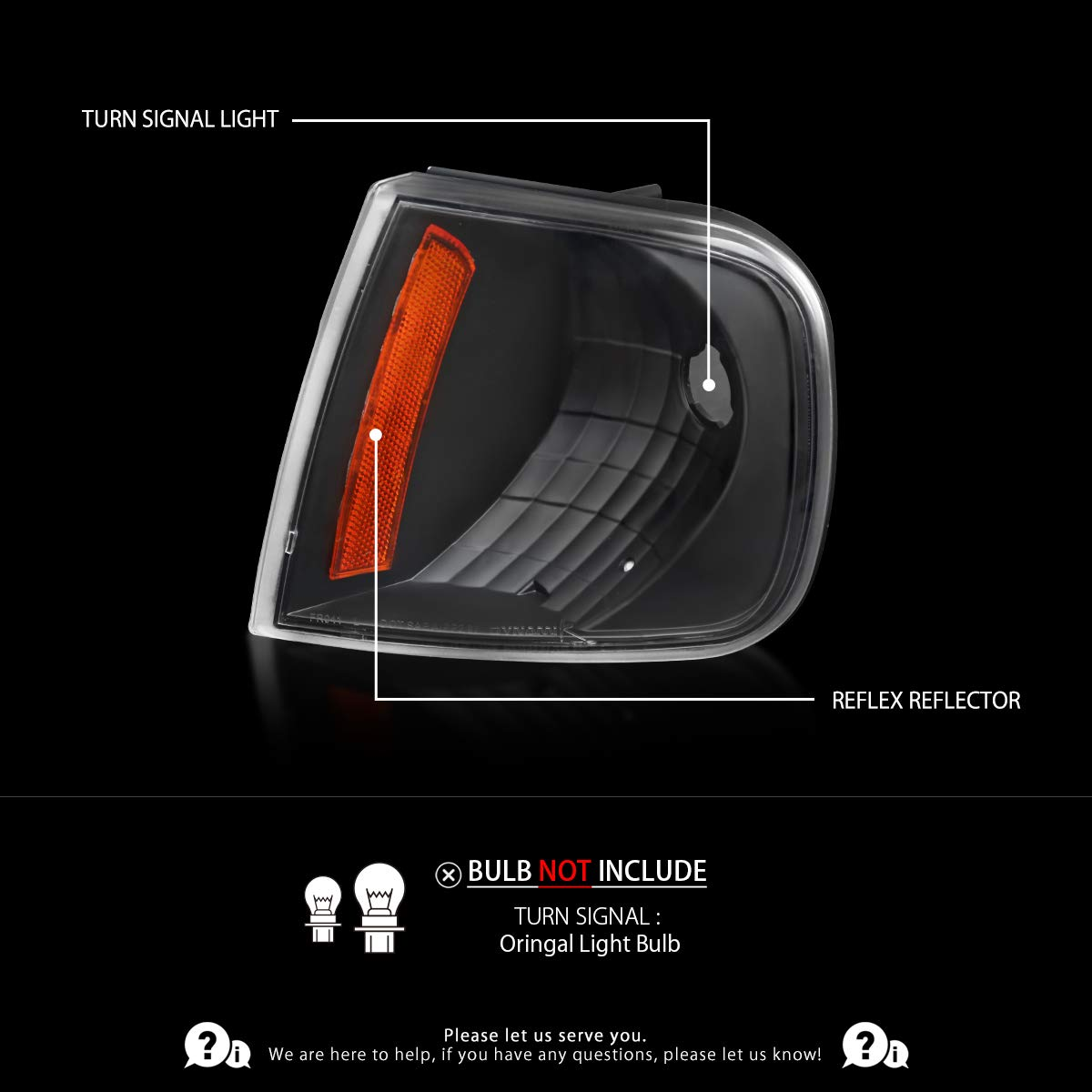 Autozensation For Ford F150 Expdition Black Clear Corner Turn Signal Lights