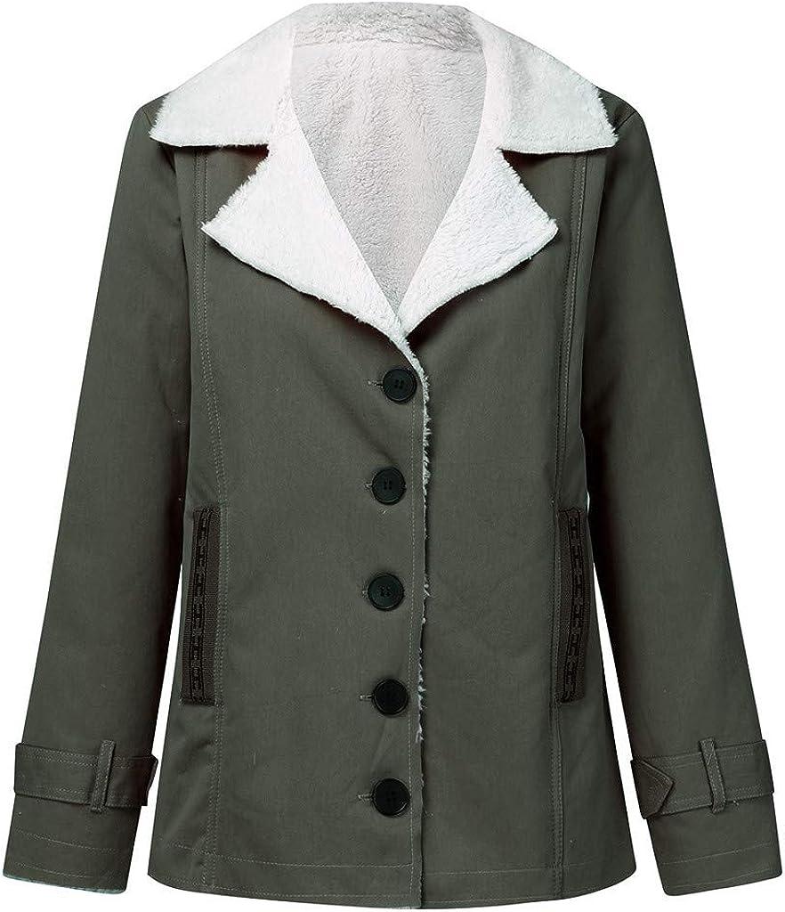 Yanvan Plus Size Coat for Women Winter Warm Coat Composite Plush Button Lapels Jacket Outwearcoat