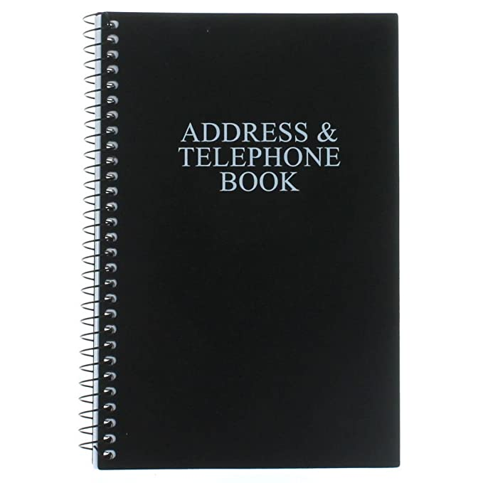Black Telephone Address Book Spiral Bound Vinyl Cover 8