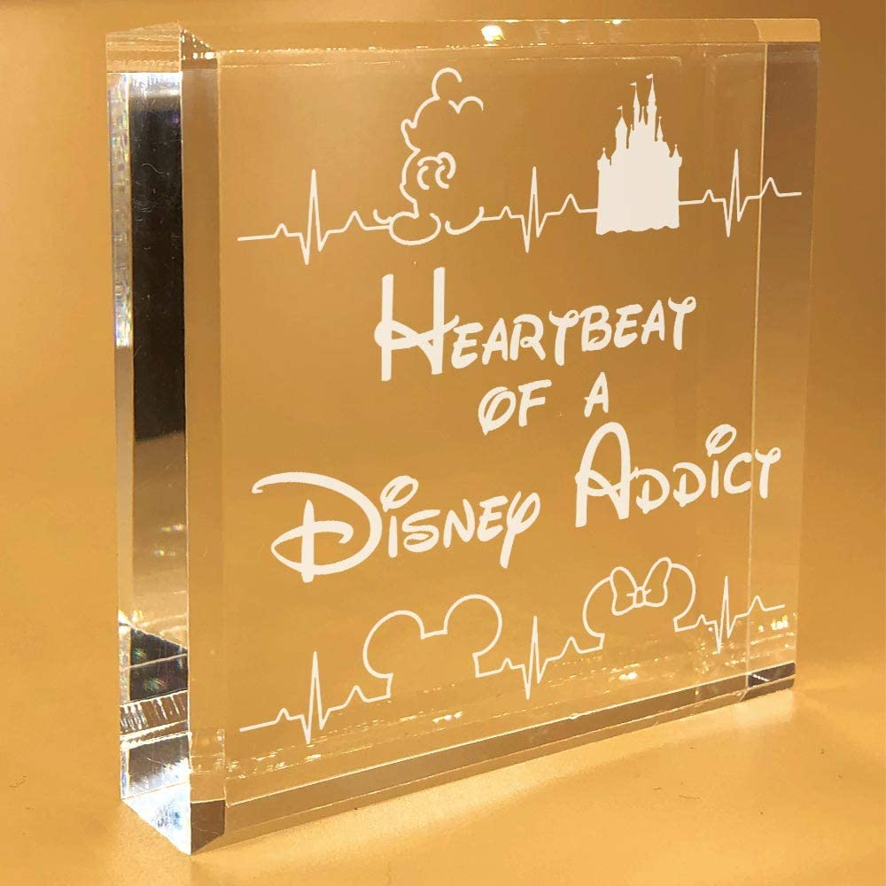 Disney Heartbeat Gifts | For Women | Mickey Mouse | Men | Minnie | Her | Adults | Desk Plate | Christmas | Paperweight | Keepsake