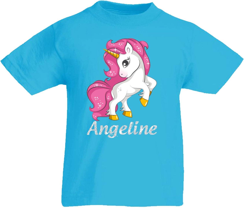 Beautiful Glittery Print HerbyDesigns Girls Personalised Glitter Unicorn T-Shirt